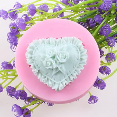 flores em forma de coração de chocolate fondant moldes de silicone bolo, ferramentas de decoração artigo de forno