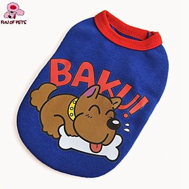 Hond T-shirt Hondenkleding Schattig Casual/Dagelijks Cartoon Rood Blauw Kostuum Voor huisdieren