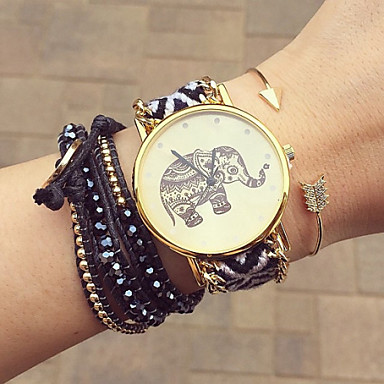 Women's Quartz Bracelet Watch Handmade Casual Watch Fabric Band Flower Bohemian Fashion Black