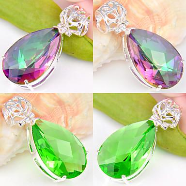 Mulheres Cristal / Prata Chapeada Pingentes - Vermelho / Verde Forma Geométrica Pingente Para Casamento / Festa / Diário