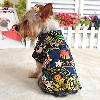 Hond Denim jacks Hondenkleding Jeans Donkerblauw Lichtblauw Katoen Kostuum Voor huisdieren Heren Dames Modieus