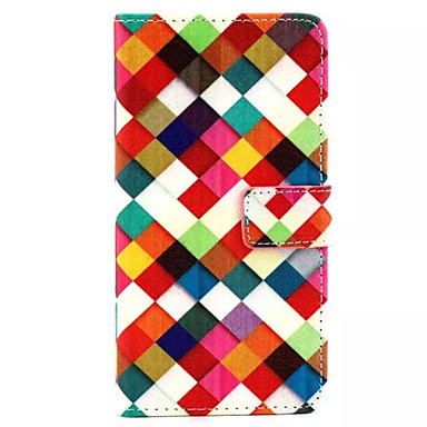 kleurrijk rasterpatroon pu lederen telefoonhoes voor huawei p8 hoesjes / covers voor Huawei