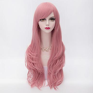Συνθετικές Περούκες Σγουρά Κούρεμα με φιλάρισμα Με αφέλειες Πυκνότητα Χωρίς κάλυμμα Γυναικεία Ροζ Καρναβάλι περούκα Απόκριες Περούκα πολύ