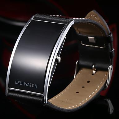 Men's Wrist watch Quartz Calendar / date / day LED Leather Band Black
