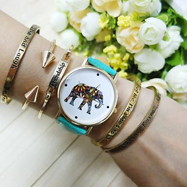 Mulheres Relógio de Moda Bracele Relógio Quartzo PU Banda Azul Vermelho Rosa
