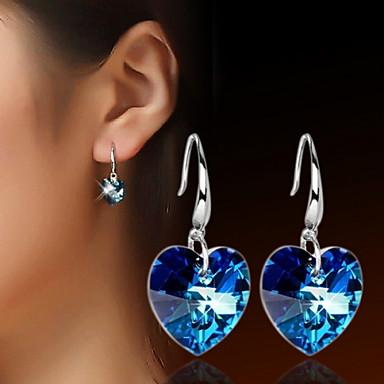 Druppel oorbellen Hart Kristal Hartvorm Blauw Sieraden Voor Dagelijks Causaal Sport 2 stuks