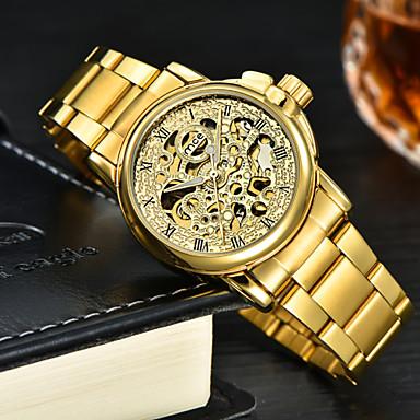 dd6e6b07af4 MCE relógio de ouro mulheres clássicas cinta de aço inoxidável completa  mecânica pequenos relógios cara