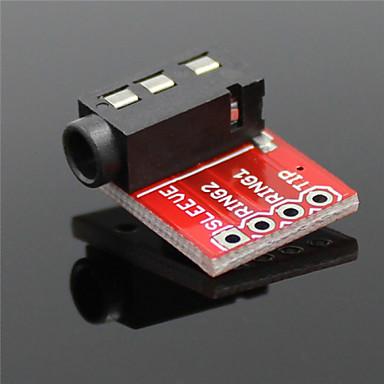 3,5 mm audio-aansluiting stereo sound module w / microfoon voor mp3-speler - rood