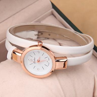Mulheres Relógio de Moda Bracele Relógio Quartzo Couro Banda Preta Branco Vermelho