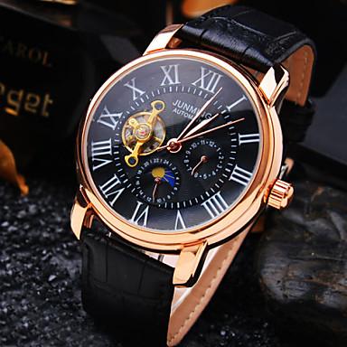 Ανδρικά Αυτόματο κούρδισμα μηχανικό ρολόι Ρολόι Καρπού Ανθεκτικό στο Νερό Εσωτερικού Μηχανισμού Δέρμα Μπάντα Πολυτέλεια Μαύρο Καφέ