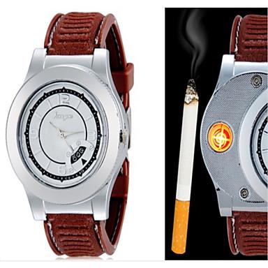 Heren Polshorloge Unieke creatieve horloge Kwarts PU Band Creatief Zwart Bruin