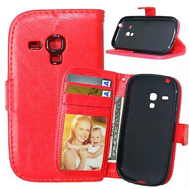 Недорогие Чехлы и кейсы для Galaxy S3 Mini-Кейс для Назначение SSamsung Galaxy S5 Mini / S4 Mini / S4 Кошелек / Бумажник для карт / со стендом Чехол Однотонный Кожа PU