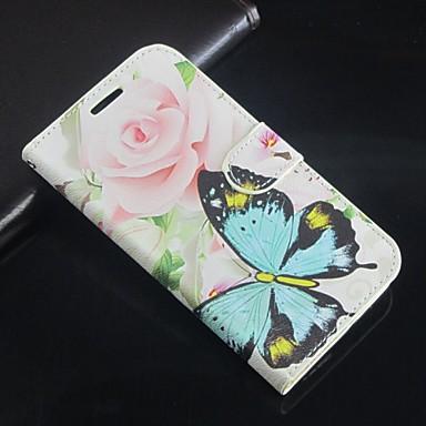 Para Samsung Galaxy Note Carteira / Porta-Cartão / Com Suporte / Flip Capinha Corpo Inteiro Capinha Borboleta Couro PU SamsungNote 4 /