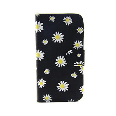 Voor iPhone 5 hoesje Portemonnee / Kaarthouder / met standaard / Flip / Patroon hoesje Volledige behuizing hoesje Bloem Hard PU-leer