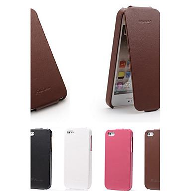 Для Кейс для iPhone 5 Флип Кейс для Чехол Кейс для Один цвет Твердый Натуральная кожа iPhone SE/5s/5