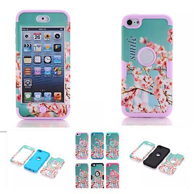 cherry blossom padrão de alta qualidade snap-on pc + silicone híbrido armadura combinação caso de capa para o iPod touch 6