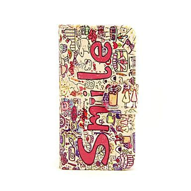glimlach bloemen patroon pu lederen full body case met kaartslot en staan voor iphone 5c