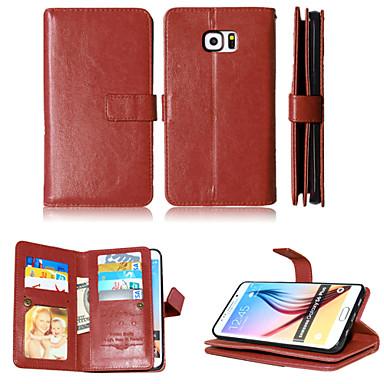 Capinha Para Samsung Galaxy Samsung Galaxy Capinhas Porta-Cartão Carteira Com Suporte Flip Magnética Capa Proteção Completa Côr Sólida PU