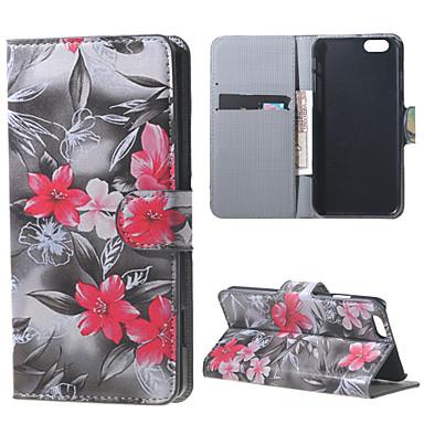 Para Capinha iPhone 6 Capinha iPhone 6 Plus Case Tampa Porta-Cartão Com Suporte Flip Estampada Corpo Inteiro Capinha Flor RígidaCouro