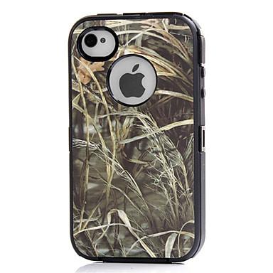 3in1 híbrido camuflar impressão árvore dirtproof duro embutido caso protetor de tela para o iPhone 4 4S