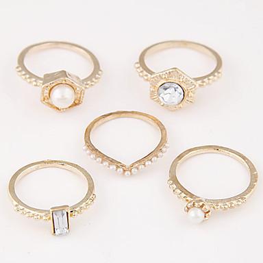 Anéis Casamento / Pesta / Diário / Casual Jóias Liga / Imitação de Pérola Feminino Anéis Meio Dedo 1conjunto,8 Dourado / Preto / Prateado