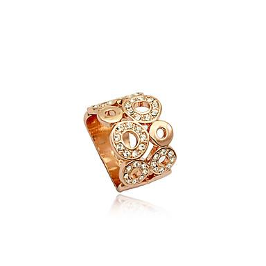 Dames Kristal Verzilverd Gesimuleerde diamant Legering Statement Ring - Luxe Hol Modieus Europees Zilver Gouden Ring Voor Feest Dagelijks