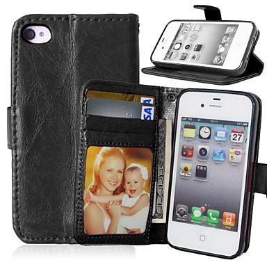 πολυτέλεια pu δερμάτινο πορτοφόλι με αναστροφή φωτογραφία υποδοχή κάρτας κάλυμμα της βάσης του πλαισίου για το iphone 4 / 4s