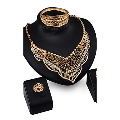 Dames Sieraden Set Kubieke Zirkonia Verguld Gesimuleerde diamant Luxe Vintage Feest Opvallende sieraden Europees Schakels/ketting Armband