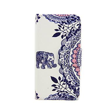 Para Capinha iPhone 5 Carteira / Porta-Cartão / Com Suporte / Flip / Estampada Capinha Corpo Inteiro Capinha Elefante Rígida Couro PU