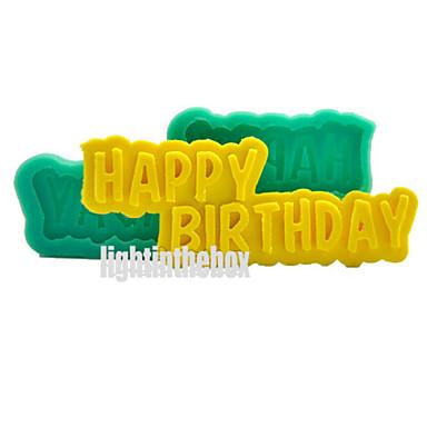 Fijne verjaardag diy siliconen chocolade pudding suiker ijs taart mal kleur willekeurig