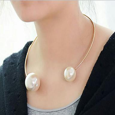 billige Mode Halskæde-Dame Perle Lyserød Mor datter Kort halskæde Perlehalskæde Perle Damer Europæisk Mode Guld Hvid Halskæder Smykker Til