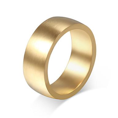 Anéis Casamento / Pesta / Diário / Casual Jóias Aço Titânio Masculino Anéis Grossos 1pç,7 / 8 / 9 / 10 / 11 Dourado