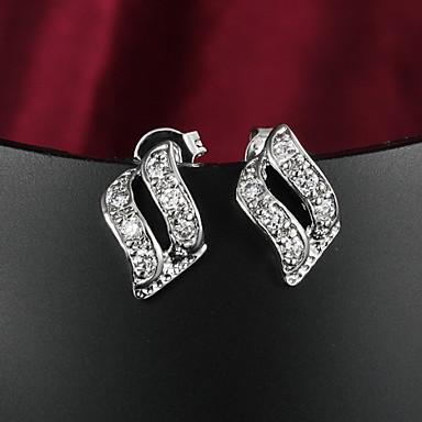 Feminino Brincos com Clipe bijuterias Zircão Zircônia Cubica Prata Chapeada Jóias Para Casamento Festa Diário Casual