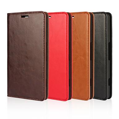 Voor Nokia hoesje Portemonnee / Kaarthouder / met standaard hoesje Volledige behuizing hoesje Effen kleur Hard Echt leer NokiaNokia Lumia