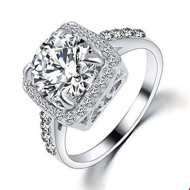 Dames Zirkonia / Kubieke Zirkonia / Legering Statement Ring - Modieus Zilver / Gouden Ring Voor Bruiloft / Feest / Dagelijks