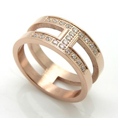 Anéis Casamento / Pesta / Diário / Casual Jóias Aço Inoxidável / Chapeado Dourado Feminino Anéis Grossos 1pç,6 / 7 / 8 / 9 / 10Dourado /