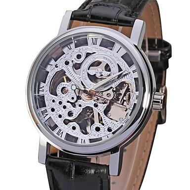 WINNER Men's Wrist Watch / Mechanical Watch Hollow Engraving PU Band Black / Mechanical manual-winding