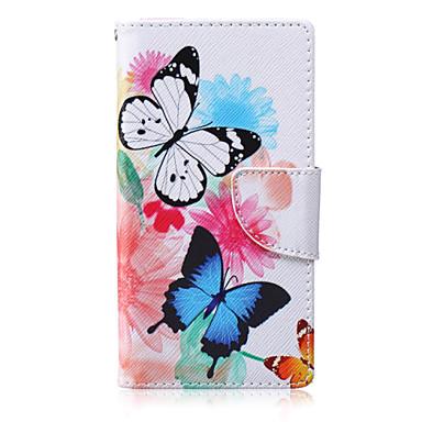 Duas borboletas pintaram a caixa do telefone do pu para huawei p8 lite casos / capas para huawei