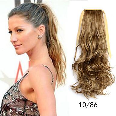 Com Adesivo Rabos-de-Cavalo Cabelo Sintético Pedaço de cabelo Alongamento Ondulado