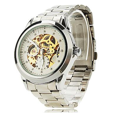 SHENHUA Heren Polshorloge mechanische horloges Hol Gegraveerd Automatisch opwindmechanisme Roestvrij staal Band Zilver