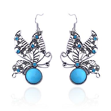 Dames Kristal Druppel oorbellen - Kristal, Verzilverd, Gesimuleerde diamant Vlinder, Dier Luxe Blauw Voor Feest / Dagelijks / Causaal / Turkoois