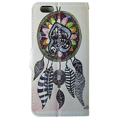 padrão campanula pena caso pu aleta de couro com fecho magnético e slot para cartão de iPhone 5 / 5s