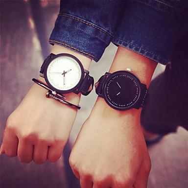 Homens Mulheres Casal Quartzo Relógio Casual Couro Banda Amuleto Preta Branco
