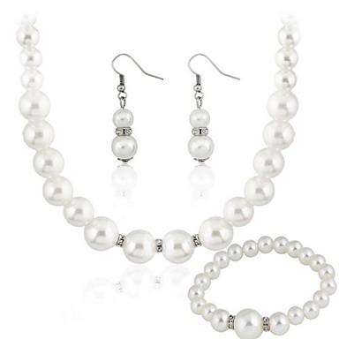 Κοσμήματα Σετ Γυναικεία Δώρο / Πάρτι Σετ Κοσμημάτων Απομίμηση Μαργαριτάρι Στρας Κολιέ / Cercei Λευκό