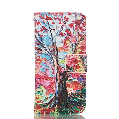 Teste padrão da árvore de couro pu caso de corpo inteiro com slot para cartão e Suporte para iPhone 6 / 6s