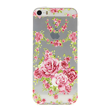 Voor iPhone 5 hoesje Hoesje cover Transparant Patroon Reliëfopdruk Achterkantje hoesje Bloem Zacht TPU voor iPhone SE/5s iPhone 5