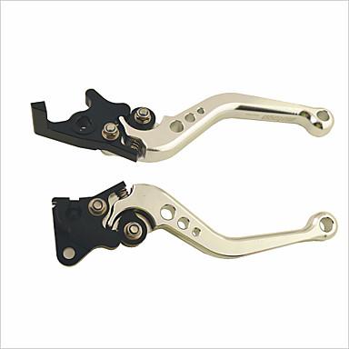 GY6 estilo lâmina motocicleta ajustável alavanca da embraiagem freio para Honda - branco prateado + preto (2 peças)