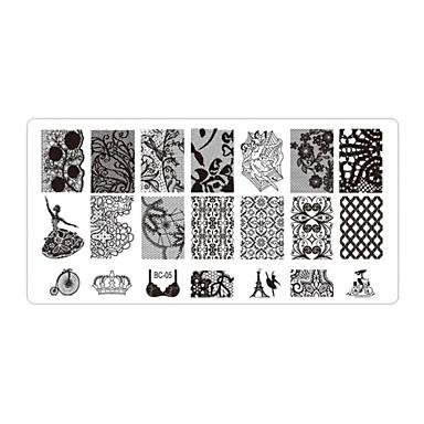 Bloem - Vinger / Teen - Andere versieringen - Metaal - 5pcs nail plates - stuks 12cmX6cm each piece - (cm)