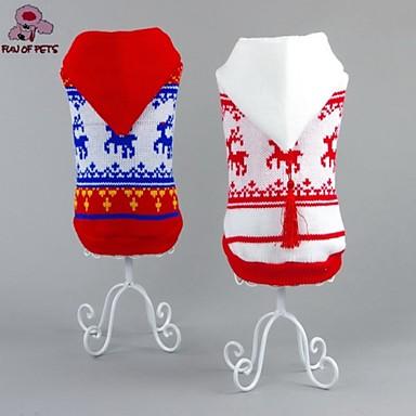 Γάτα / Σκύλος Πουλόβερ / Φούτερ με Κουκούλα / Χριστούγεννα Ρούχα για σκύλους Τάρανδος Λευκό / Κόκκινο Βαμβάκι Στολές Για κατοικίδια