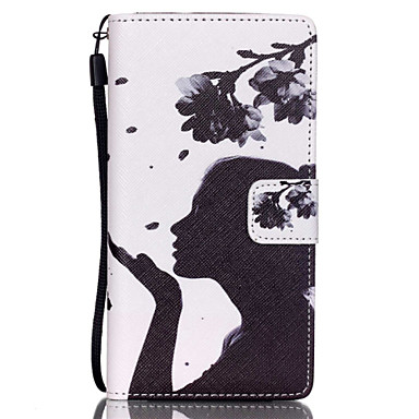 flower girl pattern pu leather case voor huawei p8 lite cases / covers voor huawei